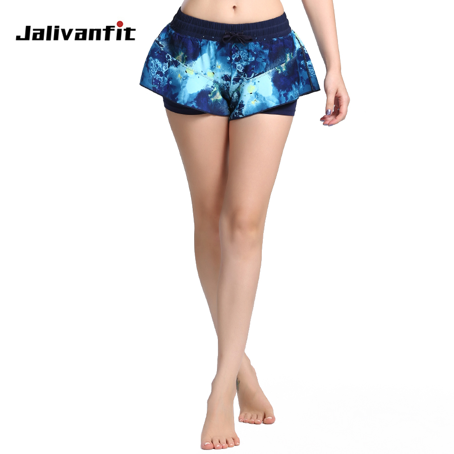 2 In 1 Sports Shorts For Women Ink Drawing Pattern Yoga Jogging Quick Dry& Breathable Girl Short Pants Athletic Fitness Clothes