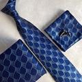 Lingyao 2017 Luxo Cavalheiros Gravata Set Top Fashion Laços Formais Conjuntos de Personalidade Azul Gravatas com caixa de Presente Cufflink Hanky