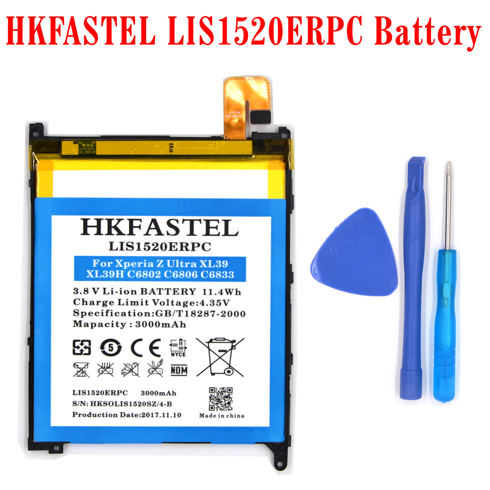 HKFASTEL New LIS1520ERPC Li-ion Mobile Phone Battery For Sony Xperia Z Ultra XL39H XL39 HSPA+ C6802 LTE C6806 C6833/,3000mAh
