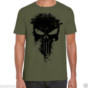 Punisher TShirt Paint Splatter - Skull - Frank Castle - Antihero - Marvel - Goth
