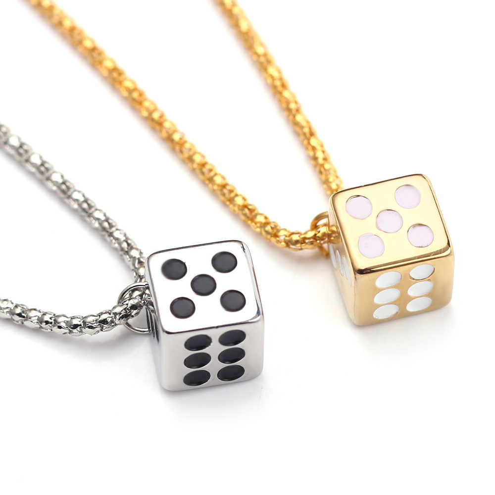 Lucky Dice Necklace The Last Jedi Han Solo Prop Gold Color Smugglers Dice/Cube Charm Star Wars Movie Car Jewelry For Toy