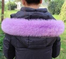 10 Colors Genuine Natural Fox Fur Collar & Women Scarfs Fashion Coat Sweater Scarves Jacket Luxury Fur Neck Cap C002-purple