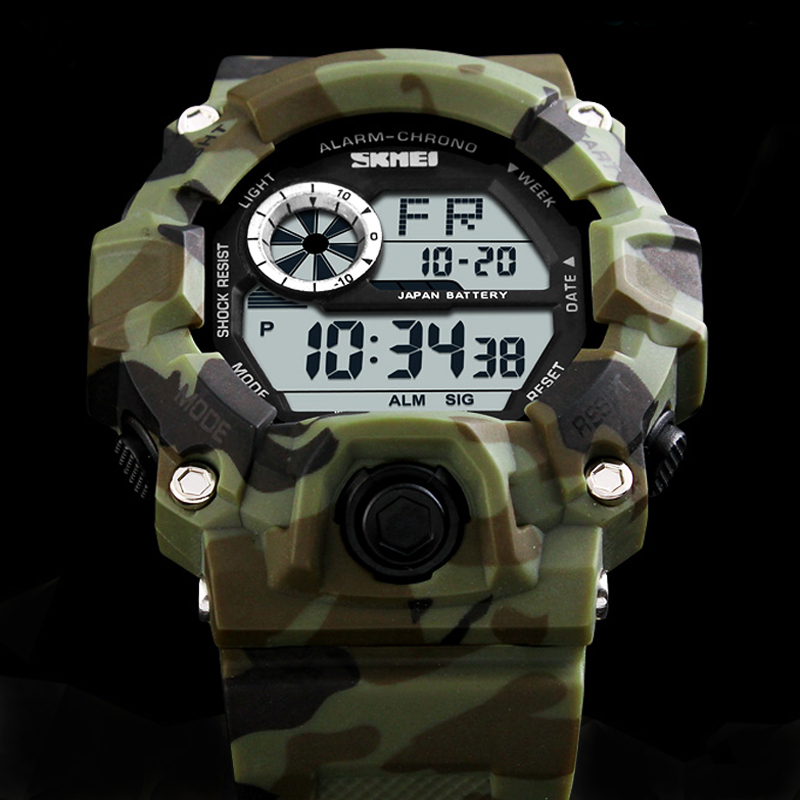 Skmei 2016 New Arrival Fashion Casual Sports Watches Man Luxury Brand G style Men Quartz Army