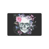 Day Of The Dead Anti Slip Door Mat Home Decor Sugar Skull With Pink Flower Indoor