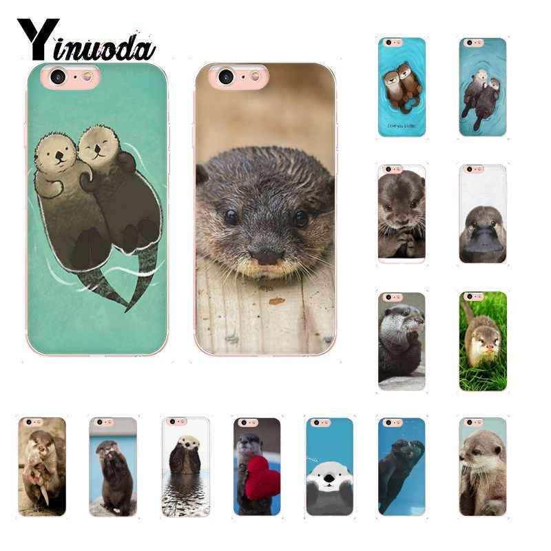 Lontra Yinuoda adorável bonito animal da água DIY Pintado Phone Case para iPhone 5 8 7 6 6S Plus 5S SE MAX XR X XS 10 Coque Shell