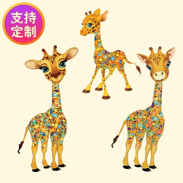 DIY mano ropa pegar tela parche pegatinas jirafa pareja hija niño ...