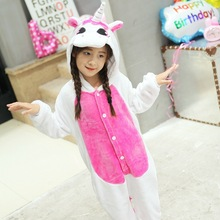 Flannel Children Pijamas Sleepers Winter Hooded Animal Unicorn Kids Pajamas For Boys Girls Sleepwear Onesies Jumpsuit Overalls