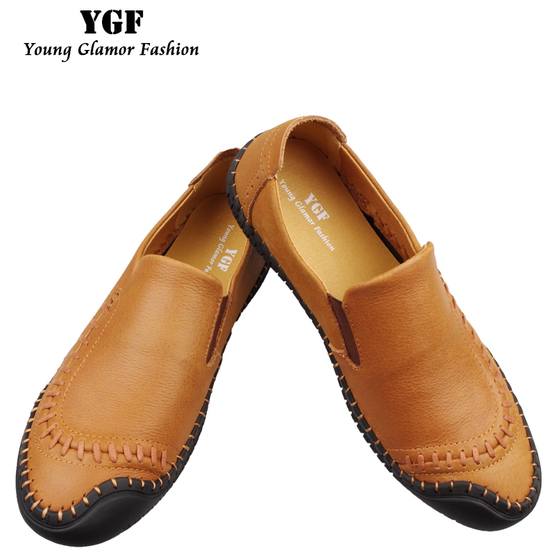YGF Men Genuine Leather Shoes 2017 New Casual Driving Loafers Slip on Flat Shoes for Male Soft Sole Men Leather Moccasins goodster new men s business casual shoes genuine leather flat low men single shoes slip on shoes men