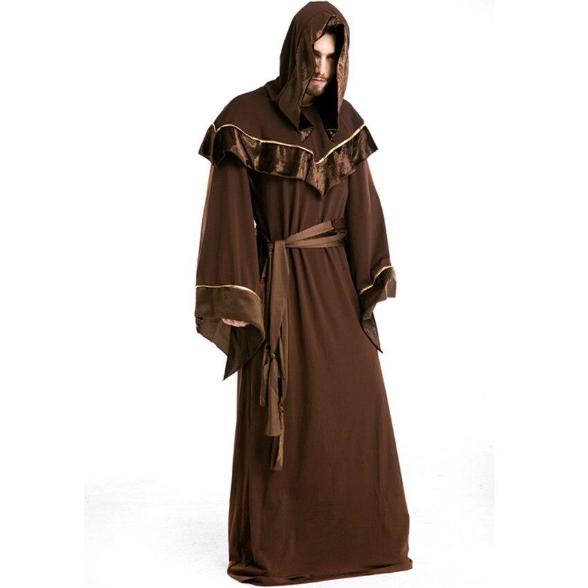 Новое поступление готический Хэллоуин маскарадный костюм Человека Костюмы шаман попы религиозная ролевая игра реальный выстрел H1671510