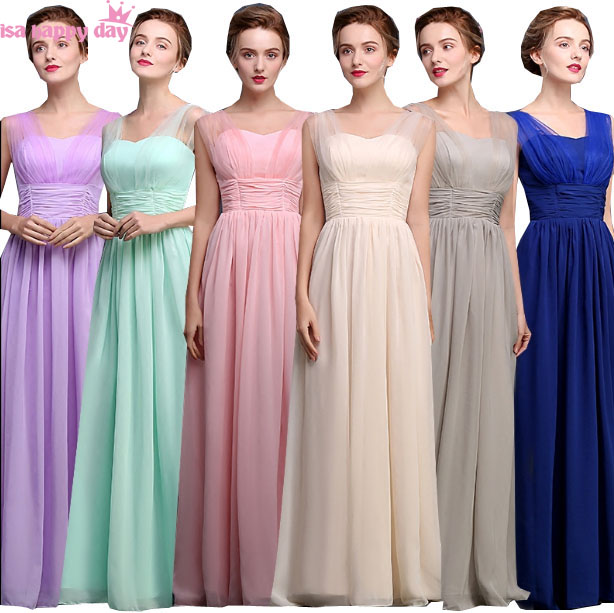 2019 hot sexy new long two shoulder spaghetti straps bridesmaid bridesmaid dress woman chiffon bride maid dresses in pink B3961