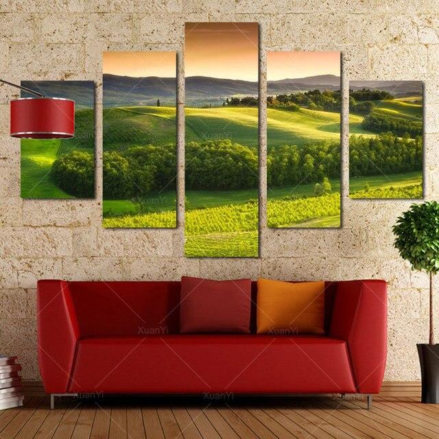 5 Painel De Pintura Da Lona Moderna Paisagem Impresso Spray Natureza  Paisagem Wall Art Imagem Para