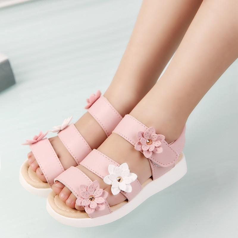 COZULMA Summer Style Children Sandals Girls Princess Beautiful Flower Shoes Kids Flat Sandals Baby Girls Roman Shoes lingerie top