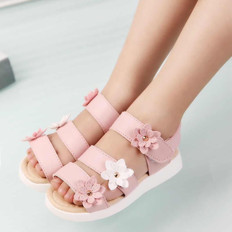 COZULMA Yaz Tarzı Çocuk Sandalet Kızlar Prenses Güzel çiçekli ayakkabı Çocuklar Düz Sandalet Bebek Kız Roma Ayakkabı