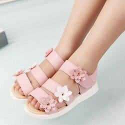 Cozulma летние Стиль детские сандалии для девочек; красивое платье принцессы Обувь с цветочным орнаментом, детские летние туфли на плоской под...
