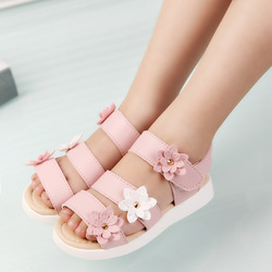 Cozulma/летние детские сандалии; красивая обувь принцессы с цветочным принтом для девочек; детские сандалии на плоской подошве; римская обувь д...
