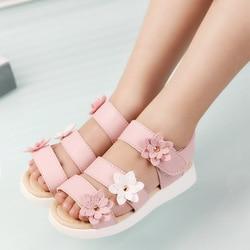 Cozulma estilo verão crianças sandálias meninas princesa bonito flor sapatos crianças sandálias planas do bebê meninas sapatos romanos