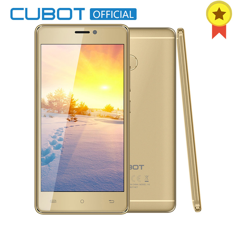 Cubot H3 Original MT6737 Quad Core Android 7.0 5.0 Inch 3G RAM 32G ROM Fingerprint Celular Dual Rear Camera 6000mAh Mobile phone