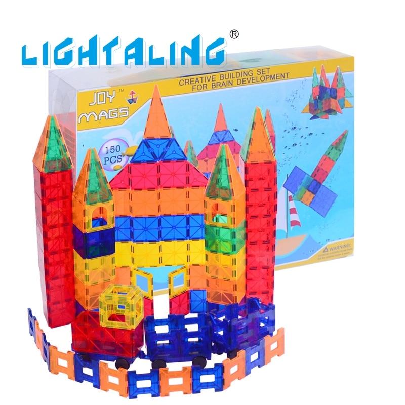 Lightaling 150pcs Magnetic Designer Building Tiles Blocks Brick Educational & Enlighten Kids Baby Toy Gifts For Children susengo magnetic designer building blocks model kits baby enlighten children gift kids educational toys 102pcs