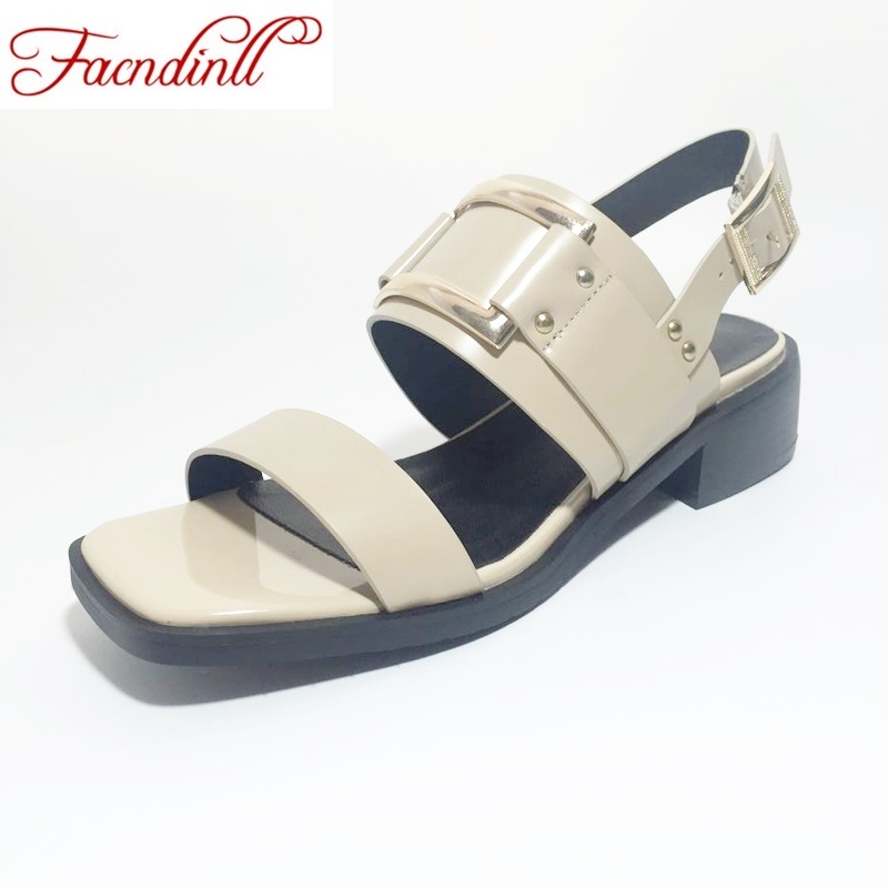 FACNDINLL summer fashion high quality soft leather women sandals thick heel platform shoes open toe buckle beach casual shoes facndinll new women summer sandals 2018 ladies summer wedges high heel fashion casual leather sandals platform date party shoes
