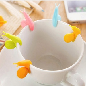 Image 4 - Cute snail tea bag holder Food grade silicone snail shape wine glass recognizer Multi function party bar tool