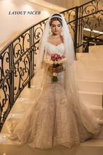 Elegant White Off the Shoulder Mermaid Wedding Dress Lace Appliques Vestido De Novia Bridal Gowns Chapel Wedding Gown