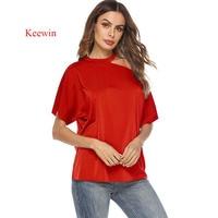 Keewin t shirt women 2019 Spring and Summer New Women's T shirt Hanging Neck Strapless Shirt Short sleeve tee shirt femme