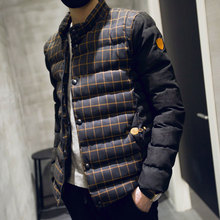 new 2016 winter cotton coat men thickness wadded jacket collar hoodies slim patchwork parkas casual warm