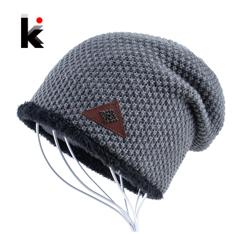 Mens hat winter skullies snowflake logo knitted wool hat plus velvet hip hop cap gorro thicker bonnet beanie for men hats touca mens summer cap thin beanie cool skullcap hip hop casual hat forbusite