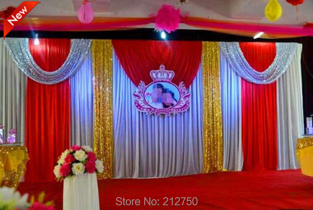 Express Free Shipping Wedding Stage Decoration Backdrop Silver Gold Paillette Cloth 3m 6m