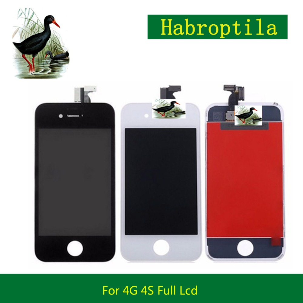 High Quality 3.5 For iPhone 4 4G 4S Full Lcd Display With Touch Screen Digitizer Sensor Assembly Complete White Black+Tracking