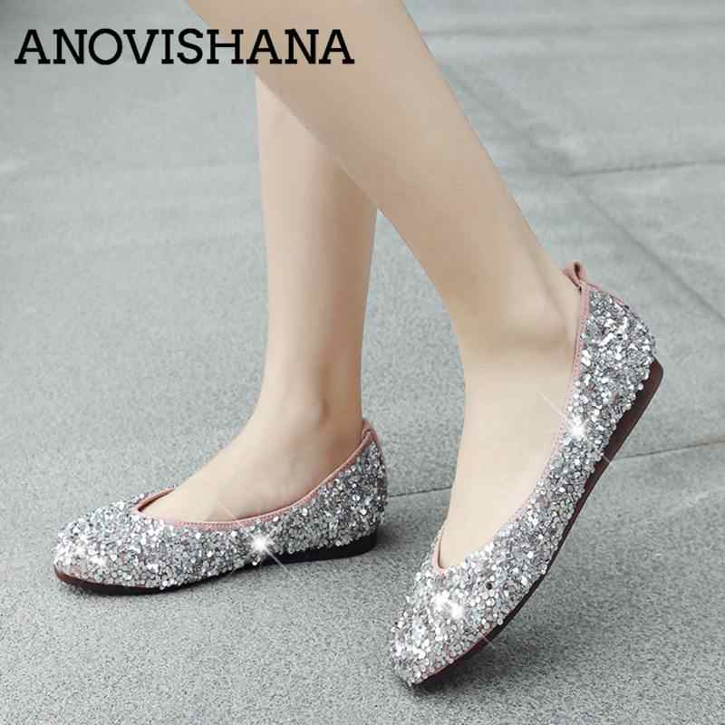 ANOVISHANA Bling Glitter women s flats luxury sequined flat shoes woman  ballerina flats brand autumn flats Espadrilles 270e9ab02e65