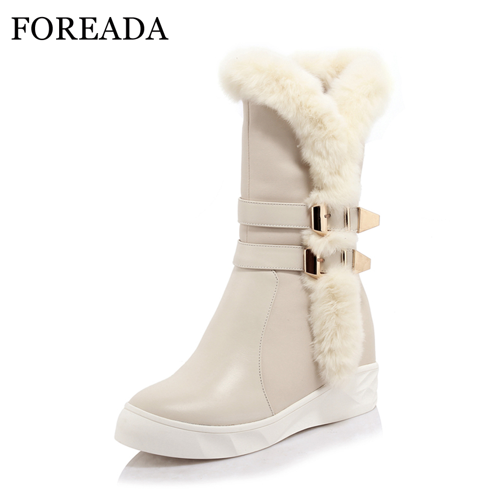 FOREADA Genuine Leather Snow Boots Winter 2018 Real Fur Women Mid-Calf Boots Plush Buckle Platform Wedge Heel Boots Zip Shoes lukuco pure color women mid calf boots microfiber made buckle design low hoof heel zip shoes with short plush inside