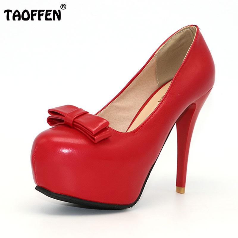 c619e10b7ec12 TAOFFEN Femmes Slip-on Femmes Minces Chaussures À Talons Hauts Dames Marque  Bowtie Bout Rond À Talons Hauts Pompes Plate-Forme Chaussures Femmes Plus  La ...