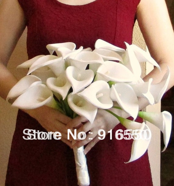 Ivory Cascading Calla Lily Bouquet Artificial Bridal Free Shipping
