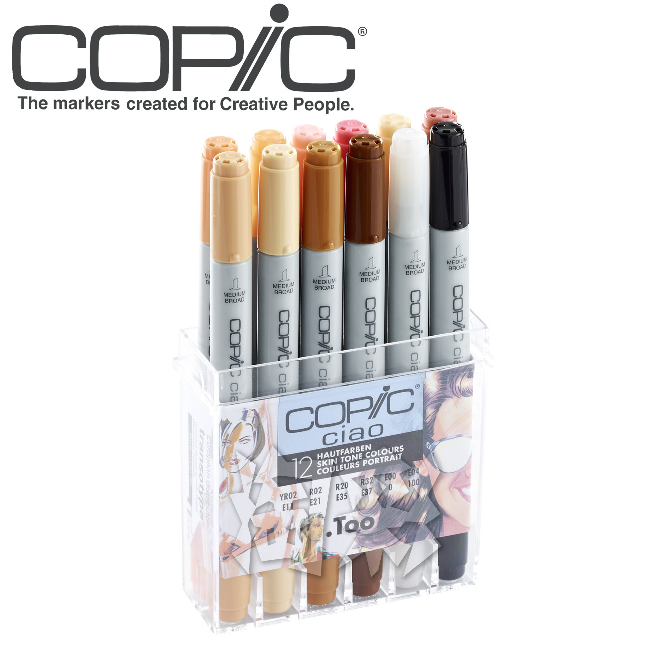 Freeshipping Japan's original copic three two one generation 12 colors kit art  Marker pen set ciao12pcs sketch  professionals fred blunt one two three