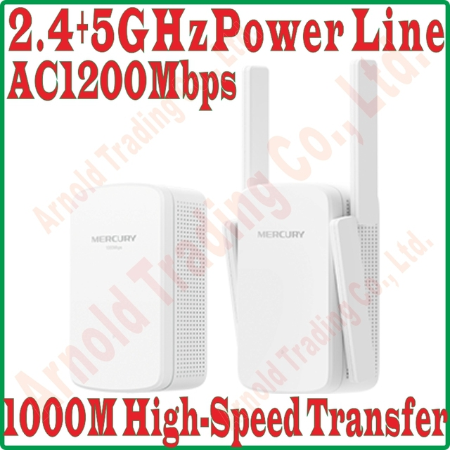 2.4GHz + 5GHz Daul Band WiFi Power Line KIT Wireless PowerLine Adapter Network Extender WiFi Hotspot 1200mbps 11AC WiFi Repeater