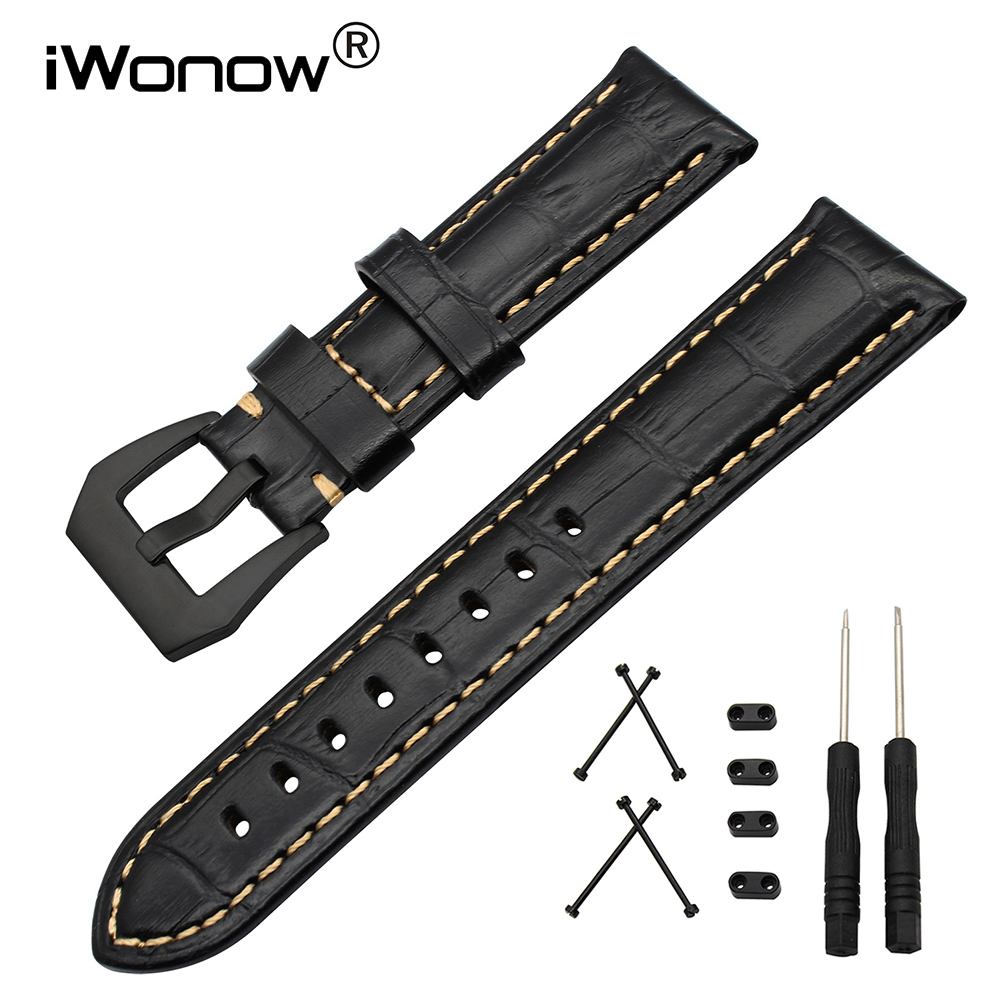 24mm Italy Calf Leather Watchband + Tool + Adapters for Suunto Core Watch Band Steel Clasp Strap Wrist Bracelet Black Blue Brown 24mm italian oily leather watchband tool adapters for suunto core watch band steel buckle strap wrist bracelet black brown