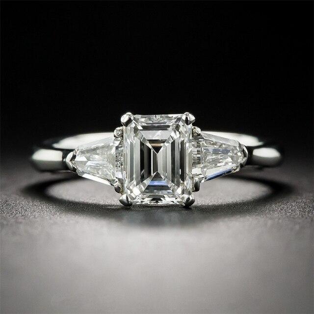 LASAMERO Emerald Cut 1 CT Esdomera Moissanites 14k White Gold Antique Three Stone Lab Grown Diamond Engagement Wedding Ring