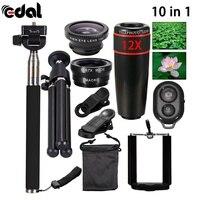 10 In 1 Phone Camera Lens 12x Lenses Fish Eye Lentes Wide Macro Lenses Selfie Stick