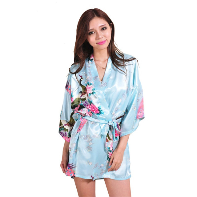 Sexy Short robe Woman Peacock Printed Silk Kimono Robes Bridesmaids Long Kimono Robe Bride Silk Robe Dressing Gown