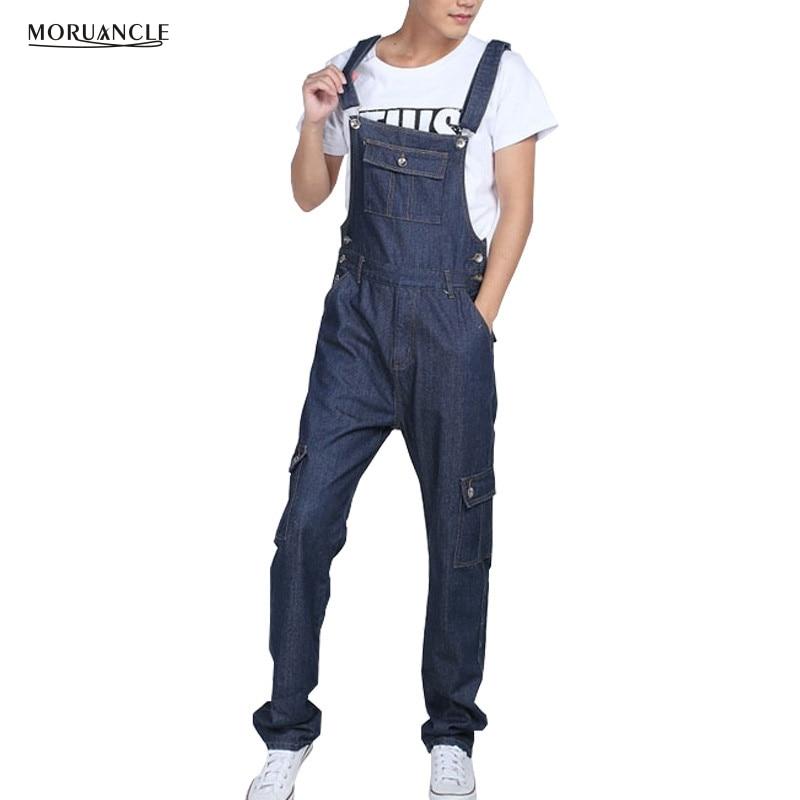 MORUANCLE Men's Baggy Cargo Denim Bib Overalls Loose Jeans