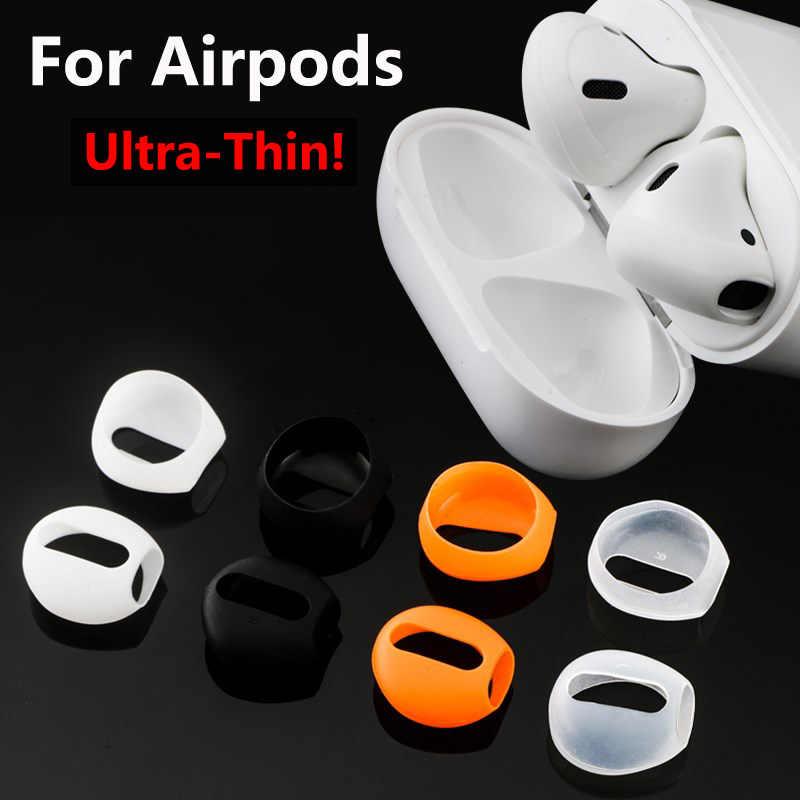 Dla Apple Airpods Ultra cienka Wkładki do uszu miękkie silikonowe Portective skrzynki pokrywa bezprzewodowe słuchawki Bluetooth douszne douszne