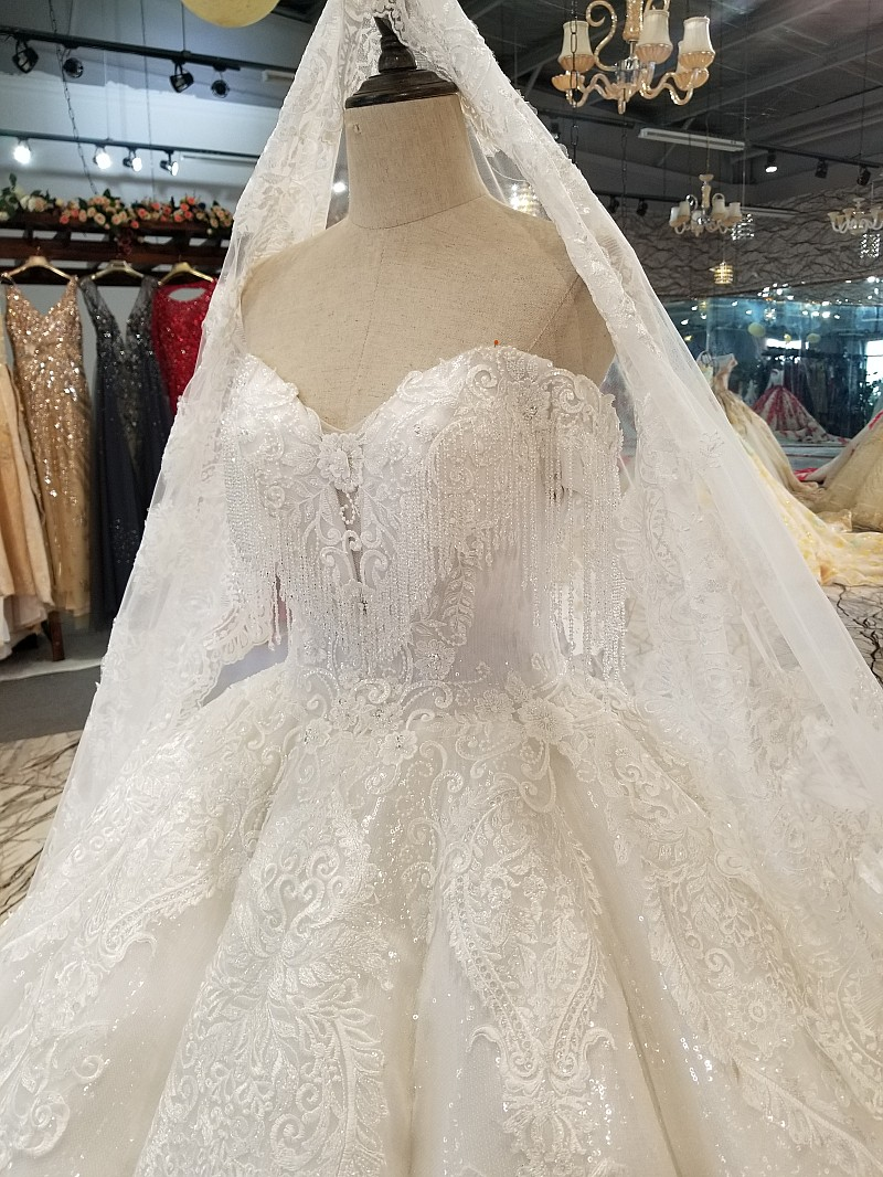 Image 5 - LS14440 plus size ivory wedding gown with beads sweetheart wholesale beauty bridal wedding dress long veil made in china factoryWedding Dresses   -