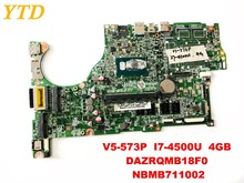 Original for ACER V5-573P laptop motherboard V5-573P I7-4500U 4GB DAZRQMB18F0 NBMB711002 tested good free shipping