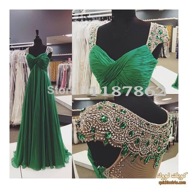 ED-0849 Long Evening Dress 2019 New Arrival Formal Dresses Emerald Green with Crystals Women