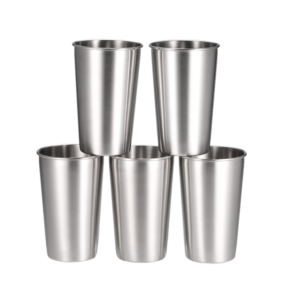 5PCS Tumbler Beer Mug Caneca Stainless Steel Pint Water Cups Travel Cooler Mugs Party Camping Picnic Juice Cup Drop Resistance ...