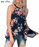 OURWINGS Classic Style Women Cosy Floral Print Flowy Sleeveless Tank Top Vest