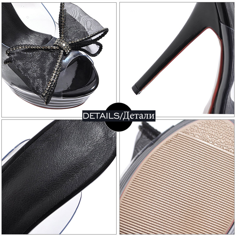 WETKISS Transparent Pvc Slippers Women Peep Toe Footwear Mesh Butterfly Knot Slides Shoes Platform Female Mules Shoes Woman 2019