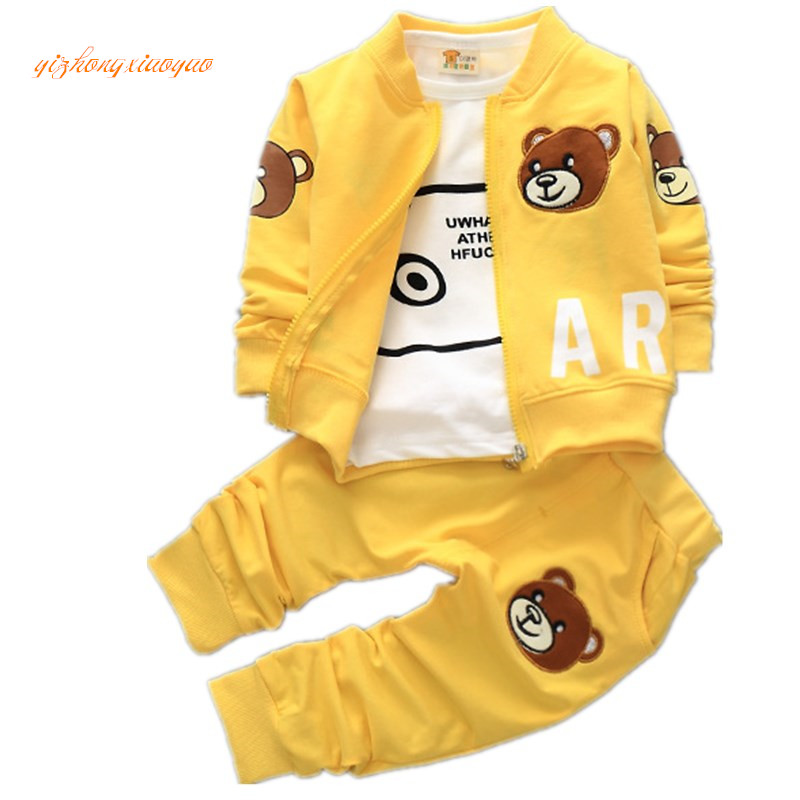 Boy boy clothes spring baby sets wool cotton clothes children movement for CARDS bear coat/jersey + pants