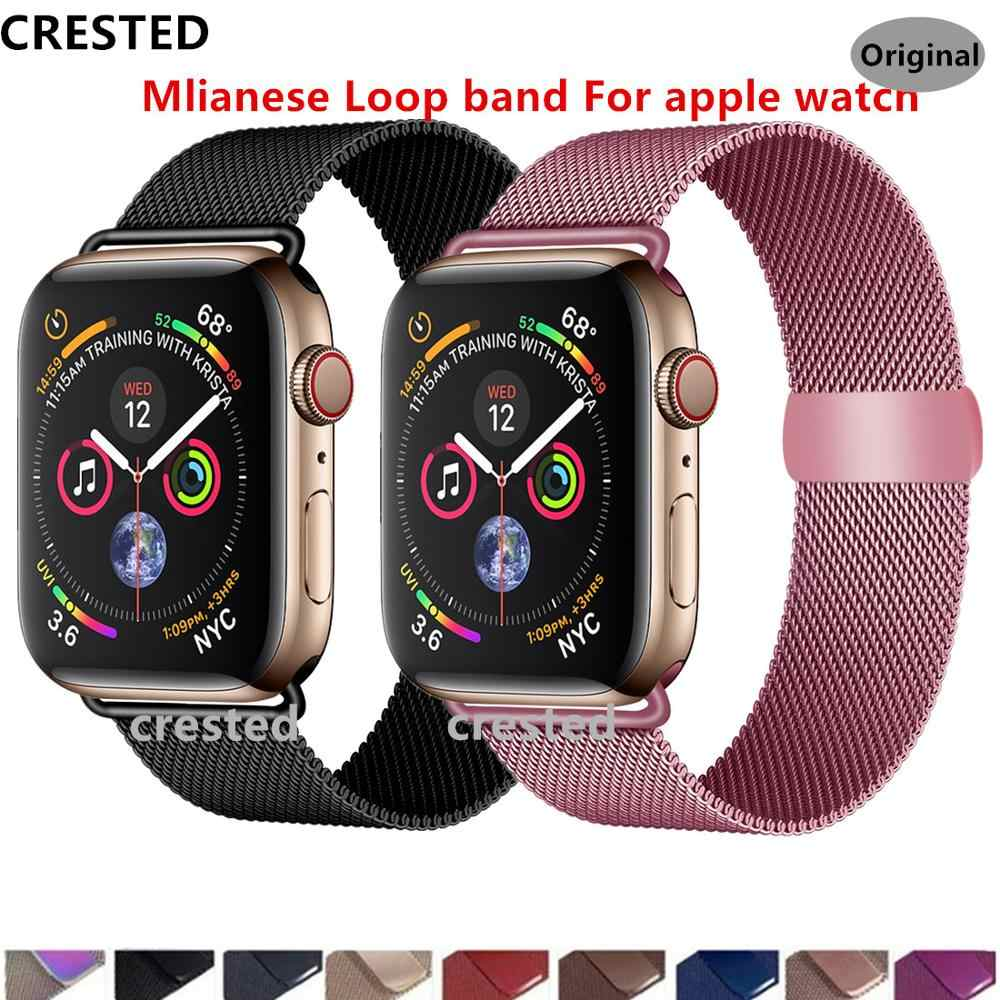 Хохлатый ремешок apple watch band Milanese Loop apple watch 4 3 band iwatch band 42 мм 38 мм correa 44 мм/40 мм pulseira bracelet